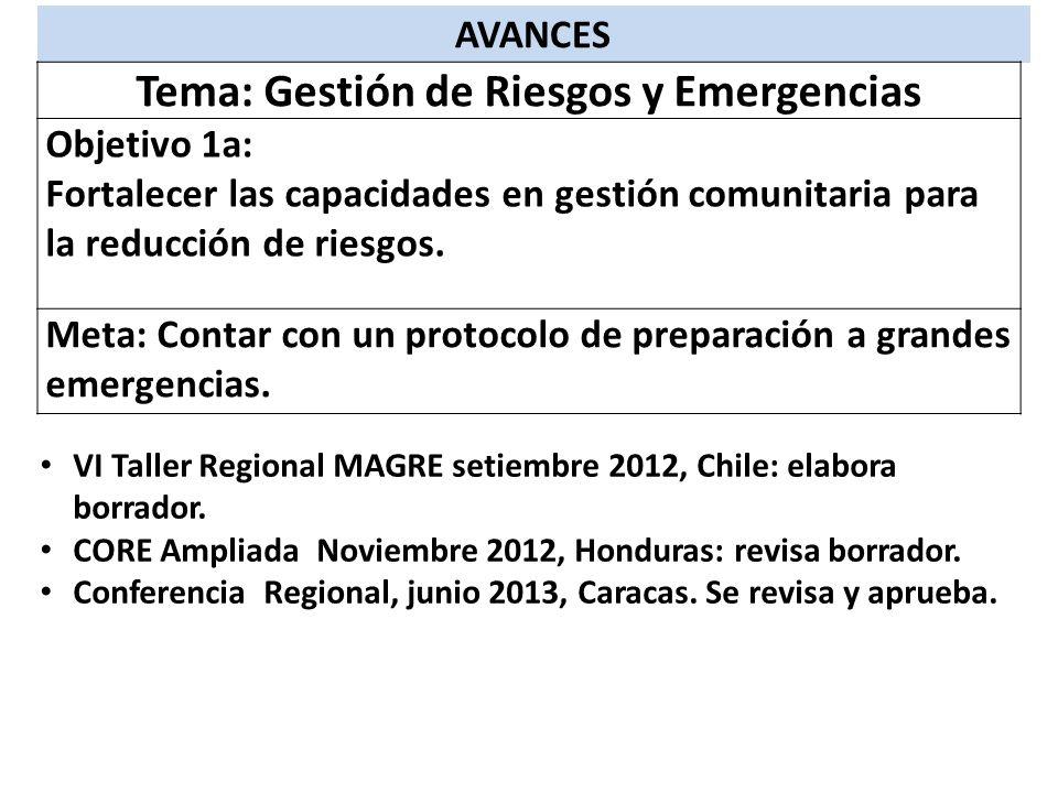 AVANCES Tema: Gestión de Riesgos y Emergencias Objetivo 1a: Fortalecer las capacidades en gestión comunitaria para la reducción de riesgos. Meta: Cont