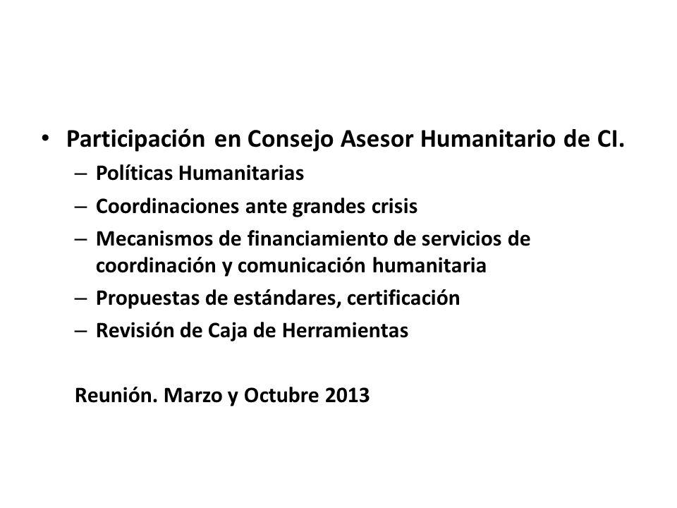 Participación en Consejo Asesor Humanitario de CI. – Políticas Humanitarias – Coordinaciones ante grandes crisis – Mecanismos de financiamiento de ser