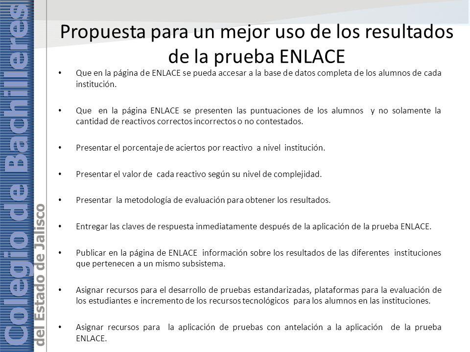 Propuesta para un mejor uso de los resultados de la prueba ENLACE Que en la página de ENLACE se pueda accesar a la base de datos completa de los alumnos de cada institución.