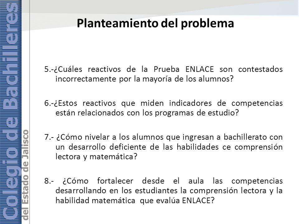 Planteamiento del problema 5.-¿Cuáles reactivos de la Prueba ENLACE son contestados incorrectamente por la mayoría de los alumnos? 6.-¿Estos reactivos
