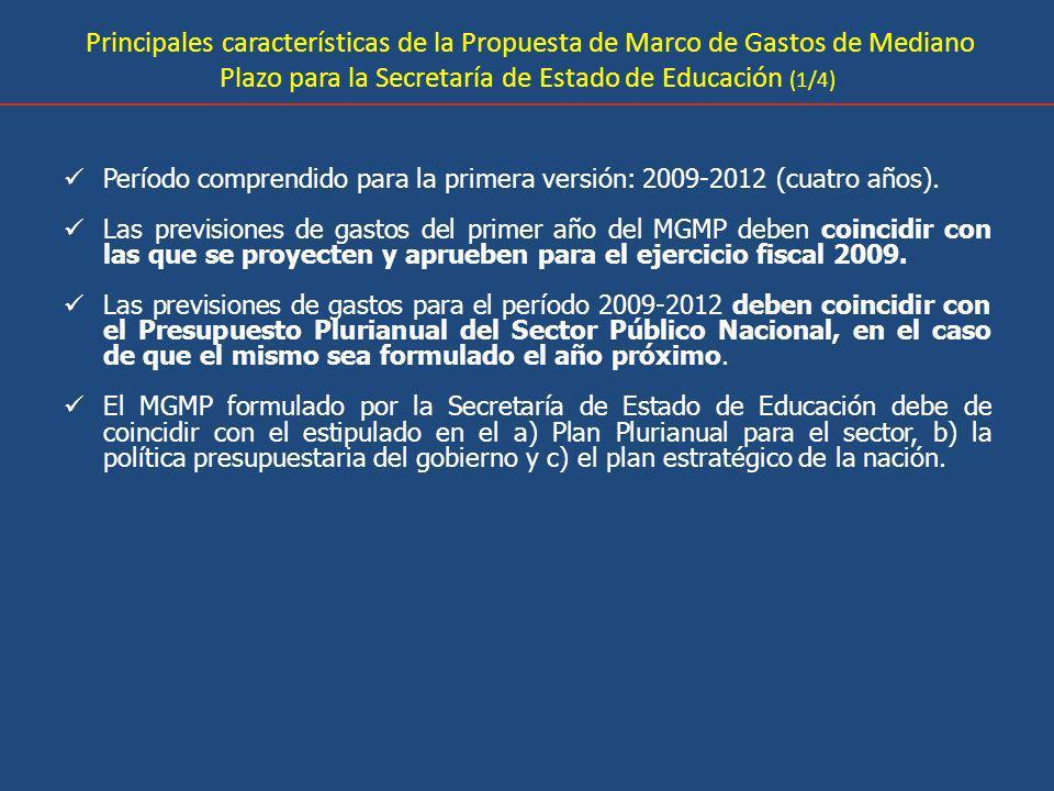 Principales características de la Propuesta de Marco de Gastos de Mediano Plazo para la Secretaría de Estado de Educación (1/4) Período comprendido pa