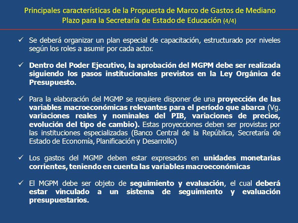Principales características de la Propuesta de Marco de Gastos de Mediano Plazo para la Secretaría de Estado de Educación (4/4) Se deberá organizar un