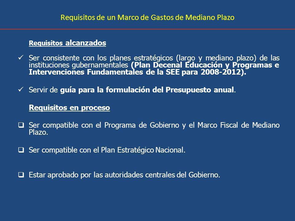 Requisitos de un Marco de Gastos de Mediano Plazo Requisitos alcanzados Ser consistente con los planes estratégicos (largo y mediano plazo) de las instituciones gubernamentales (Plan Decenal Educación y Programas e Intervenciones Fundamentales de la SEE para 2008-2012).