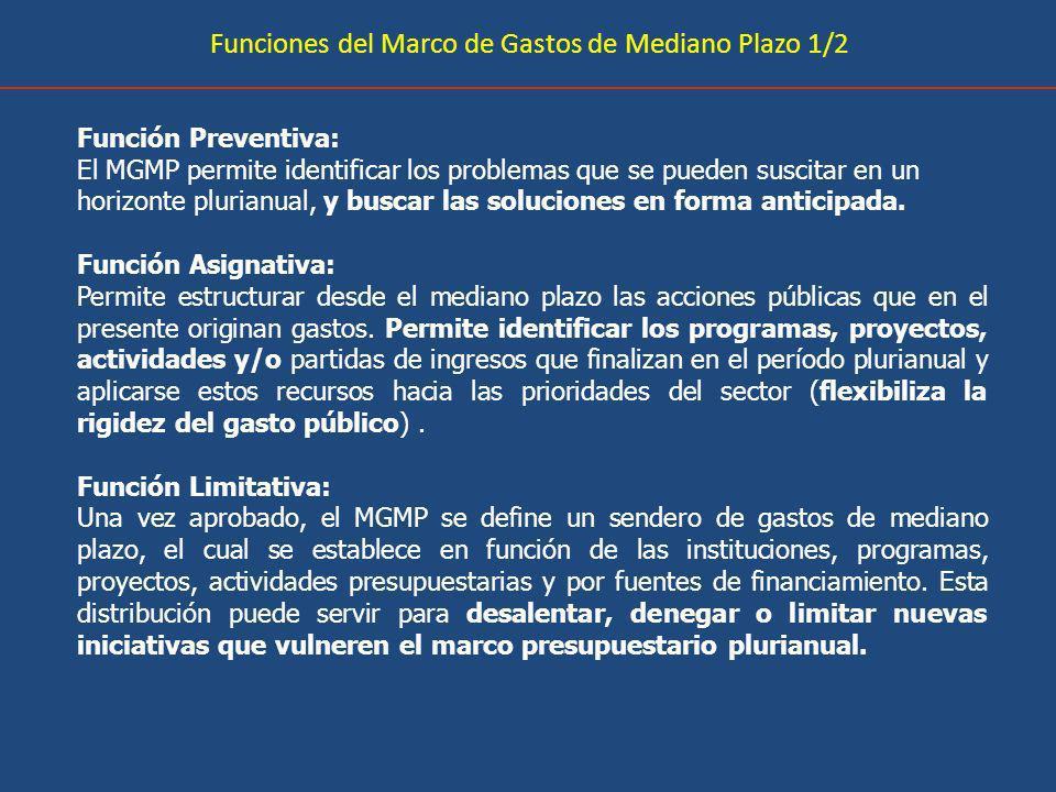 Funciones del Marco de Gastos de Mediano Plazo 1/2 Función Preventiva: El MGMP permite identificar los problemas que se pueden suscitar en un horizonte plurianual, y buscar las soluciones en forma anticipada.