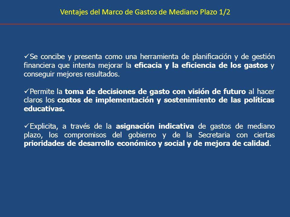 Ventajes del Marco de Gastos de Mediano Plazo 1/2 Se concibe y presenta como una herramienta de planificación y de gestión financiera que intenta mejorar la eficacia y la eficiencia de los gastos y conseguir mejores resultados.