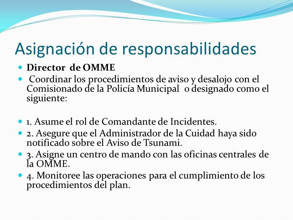 Asignación de responsabilidades Director de OMME Coordinar los procedimientos de aviso y desalojo con el Comisionado de la Policía Municipal o designa