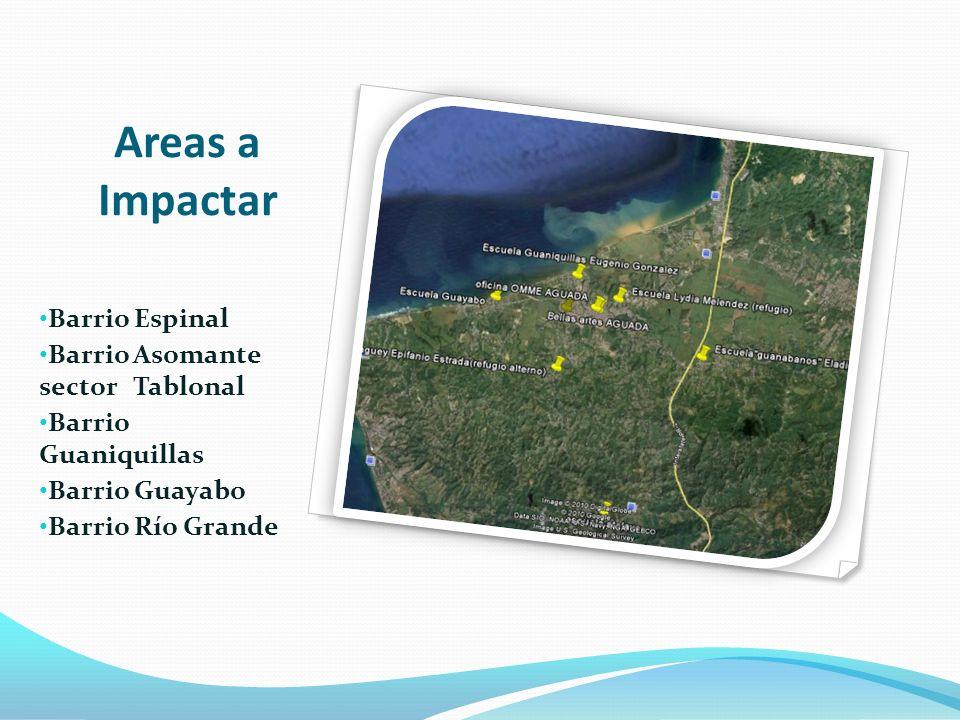 Areas a Impactar Barrio Espinal Barrio Asomante sector Tablonal Barrio Guaniquillas Barrio Guayabo Barrio Río Grande