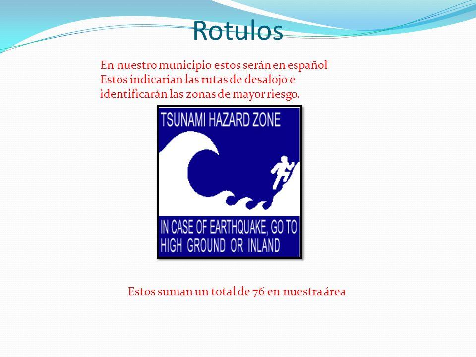 Rotulos En nuestro municipio estos serán en español Estos indicarian las rutas de desalojo e identificarán las zonas de mayor riesgo. Estos suman un t