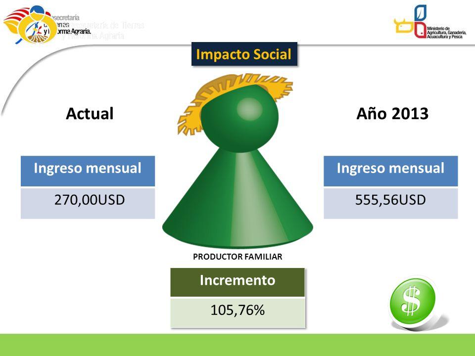 PRODUCTOR FAMILIAR ActualAño 2013 Ingreso mensual 270,00USD Ingreso mensual 555,56USD Impacto Social