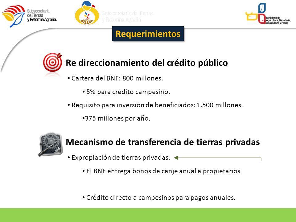 Requerimientos Re direccionamiento del crédito público Cartera del BNF: 800 millones. 5% para crédito campesino. Requisito para inversión de beneficia