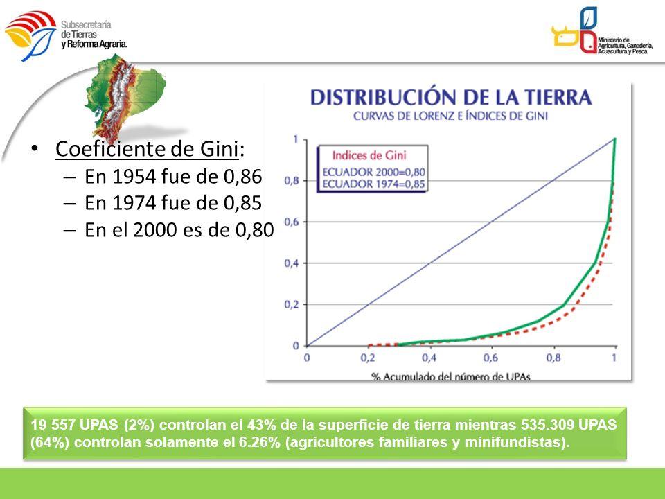 Coeficiente de Gini: – En 1954 fue de 0,86 – En 1974 fue de 0,85 – En el 2000 es de 0,80 19 557 UPAS (2%) controlan el 43% de la superficie de tierra