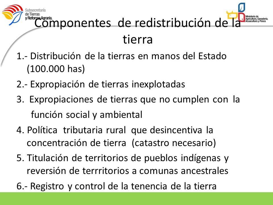 Componentes de redistribución de la tierra 1.- Distribución de la tierras en manos del Estado (100.000 has) 2.- Expropiación de tierras inexplotadas 3