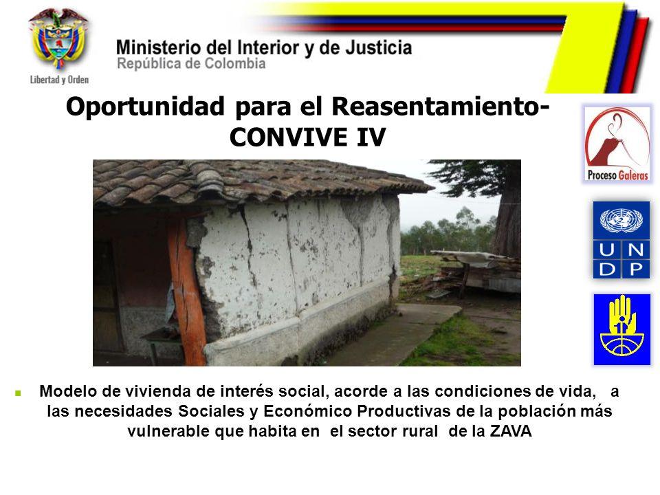 Oportunidad para el Reasentamiento- CONVIVE IV Modelo de vivienda de interés social, acorde a las condiciones de vida, a las necesidades Sociales y Ec