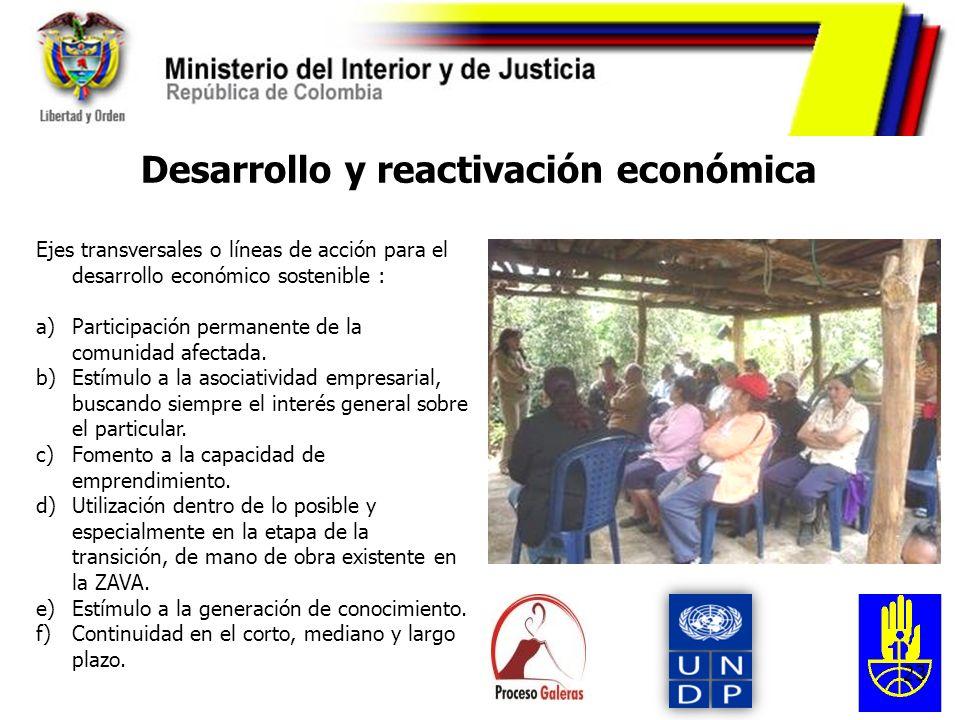 23 Desarrollo y reactivación económica Ejes transversales o líneas de acción para el desarrollo económico sostenible : a)Participación permanente de l