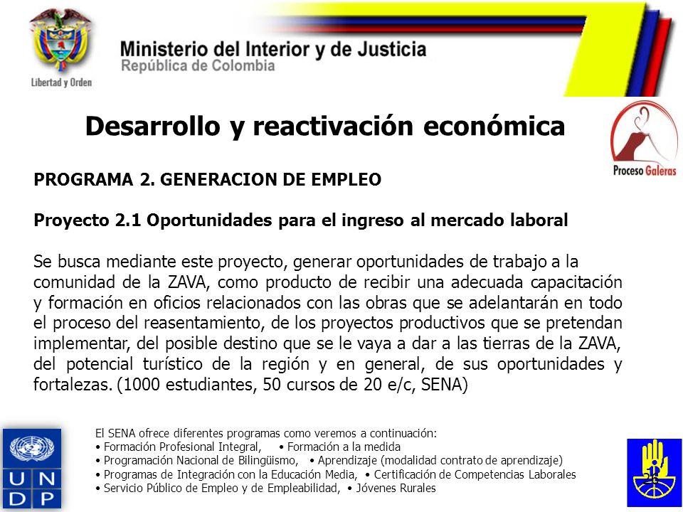26 Desarrollo y reactivación económica PROGRAMA 2. GENERACION DE EMPLEO Proyecto 2.1 Oportunidades para el ingreso al mercado laboral Se busca mediant