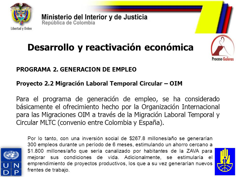 27 PROGRAMA 2. GENERACION DE EMPLEO Proyecto 2.2 Migración Laboral Temporal Circular – OIM Para el programa de generación de empleo, se ha considerado