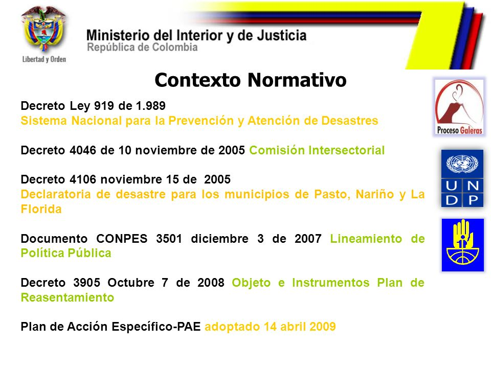 Contexto Normativo Decreto Ley 919 de 1.989 Sistema Nacional para la Prevención y Atención de Desastres Decreto 4046 de 10 noviembre de 2005 Comisión