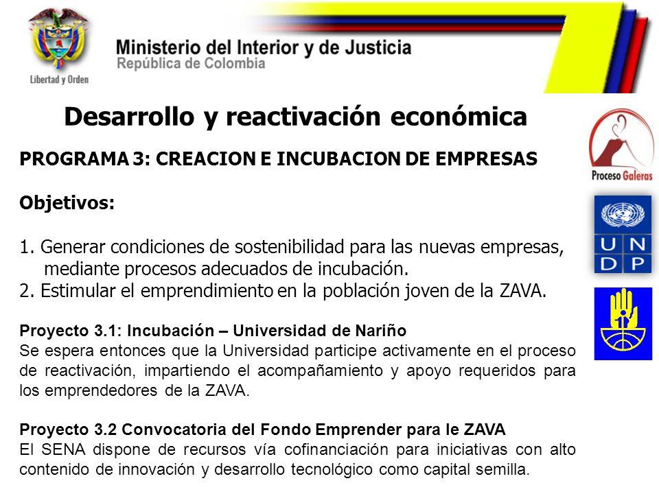 PROGRAMA 3: CREACION E INCUBACION DE EMPRESAS Objetivos: 1. Generar condiciones de sostenibilidad para las nuevas empresas, mediante procesos adecuado