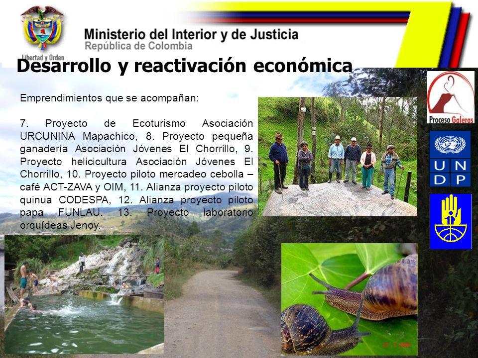 Desarrollo y reactivación económica Emprendimientos que se acompañan: 7. Proyecto de Ecoturismo Asociación URCUNINA Mapachico, 8. Proyecto pequeña gan