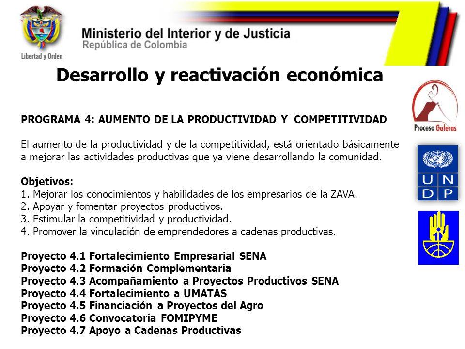 Desarrollo y reactivación económica PROGRAMA 4: AUMENTO DE LA PRODUCTIVIDAD Y COMPETITIVIDAD El aumento de la productividad y de la competitividad, es