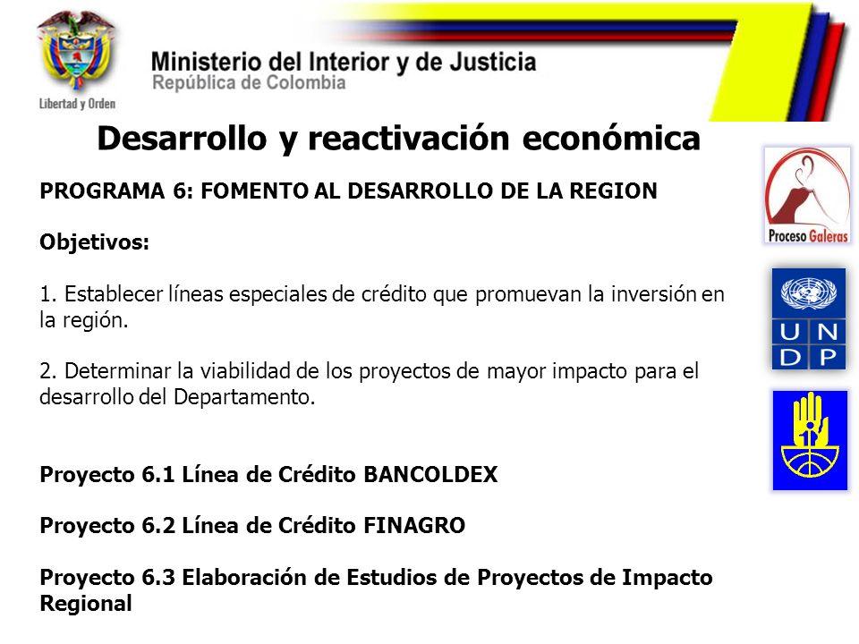 Desarrollo y reactivación económica PROGRAMA 6: FOMENTO AL DESARROLLO DE LA REGION Objetivos: 1. Establecer líneas especiales de crédito que promuevan