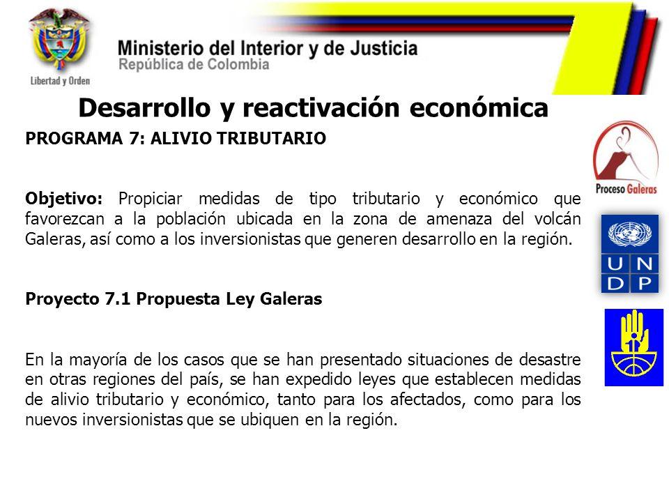 PROGRAMA 7: ALIVIO TRIBUTARIO Objetivo: Propiciar medidas de tipo tributario y económico que favorezcan a la población ubicada en la zona de amenaza d