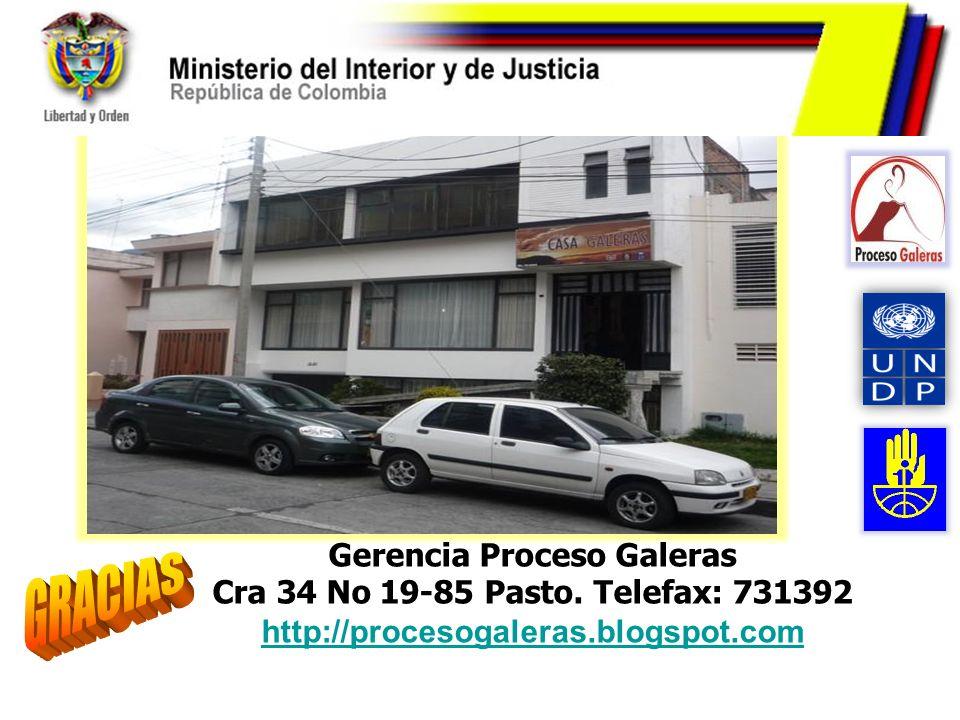 Gerencia Proceso Galeras Cra 34 No 19-85 Pasto. Telefax: 731392 http://procesogaleras.blogspot.com http://procesogaleras.blogspot.com