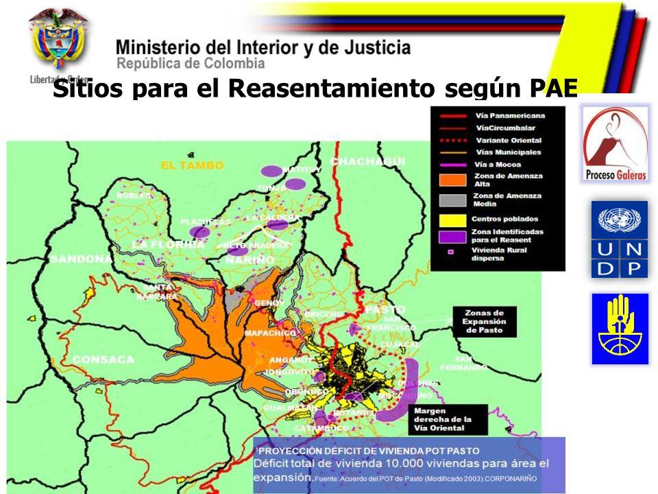 Sitios para el Reasentamiento según PAE