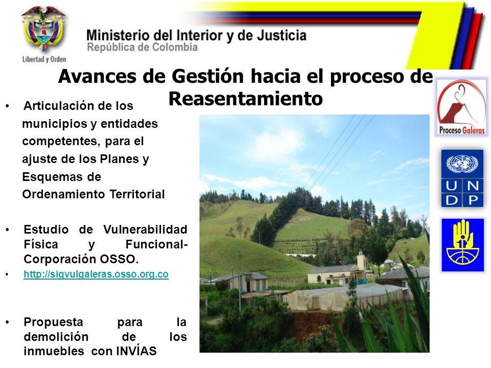 Avances de Gestión hacia el proceso de Reasentamiento Articulación de los municipios y entidades competentes, para el ajuste de los Planes y Esquemas