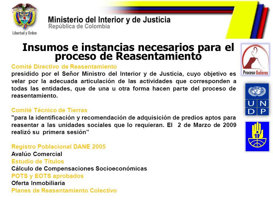 Insumos e instancias necesarios para el proceso de Reasentamiento Comité Directivo de Reasentamiento presidido por el Señor Ministro del Interior y de