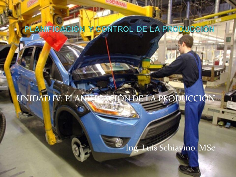 UNIDAD IV: PLANIFICACIÓN DE LA PRODUCCIÓN Ing. Luis Schiavino. MSc