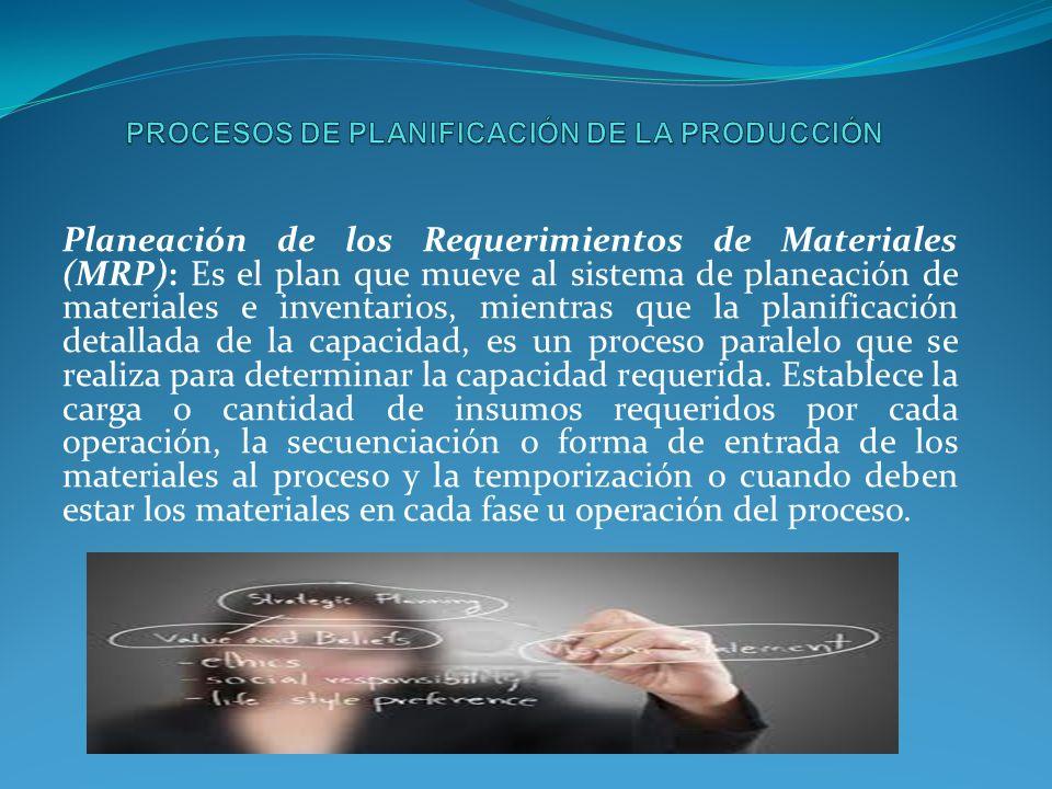 Planeación de los Requerimientos de Materiales (MRP): Es el plan que mueve al sistema de planeación de materiales e inventarios, mientras que la planificación detallada de la capacidad, es un proceso paralelo que se realiza para determinar la capacidad requerida.