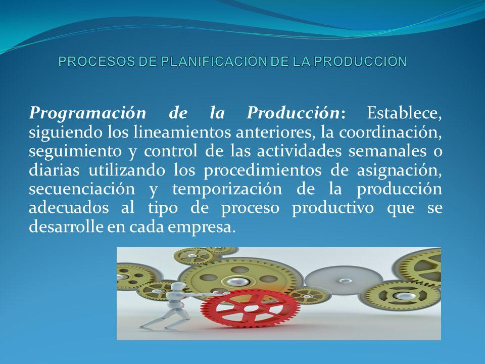 Programación de la Producción: Establece, siguiendo los lineamientos anteriores, la coordinación, seguimiento y control de las actividades semanales o diarias utilizando los procedimientos de asignación, secuenciación y temporización de la producción adecuados al tipo de proceso productivo que se desarrolle en cada empresa.