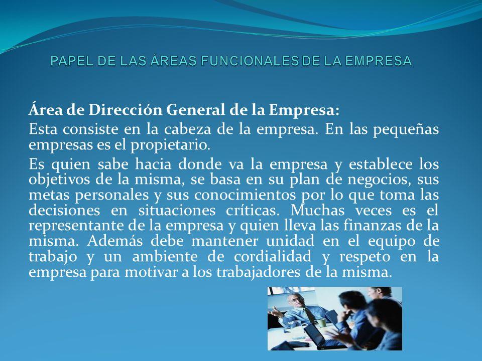 Área de Dirección General de la Empresa: Esta consiste en la cabeza de la empresa. En las pequeñas empresas es el propietario. Es quien sabe hacia don