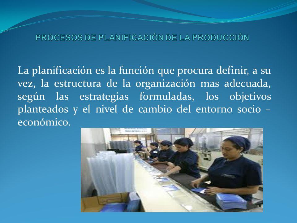 La planificación es la función que procura definir, a su vez, la estructura de la organización mas adecuada, según las estrategias formuladas, los objetivos planteados y el nivel de cambio del entorno socio – económico.