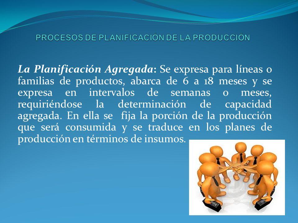 La Planificación Agregada: Se expresa para líneas o familias de productos, abarca de 6 a 18 meses y se expresa en intervalos de semanas o meses, requiriéndose la determinación de capacidad agregada.