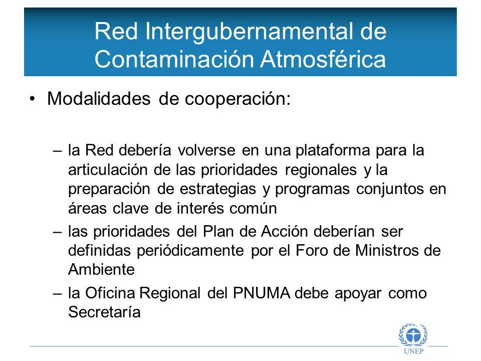 Objetivos de la Red Intergubernamental Estructura propuesta para el Acuerdo Marco Acuerdo Marco Metas principales de intervención Gobernanza regional (1)Cooperación regional, (2)Gobernanza ambiental nacional y regional, (8) Participación publica en el manejo de la contaminación atmosférica, (9) Desarrollo de capacidades, investigación y desarrollo Prioridades sectoriales (3) Sector transporte, (4) Planificación y gestión urbanas, (5) Fuentes puntuales y difusas, (6) Incendios forestales, quemas no controladas y deforestación, (7) Contaminación del aire interior,