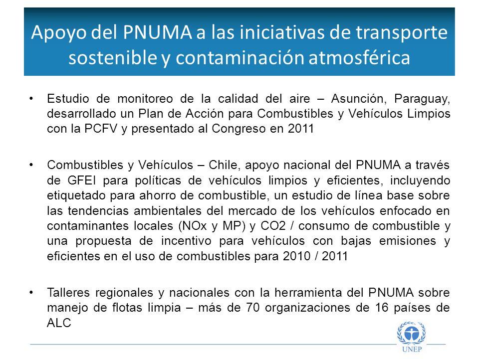 Objetivos de la Red Intergubernamental Estudio de monitoreo de la calidad del aire – Asunción, Paraguay, desarrollado un Plan de Acción para Combustib