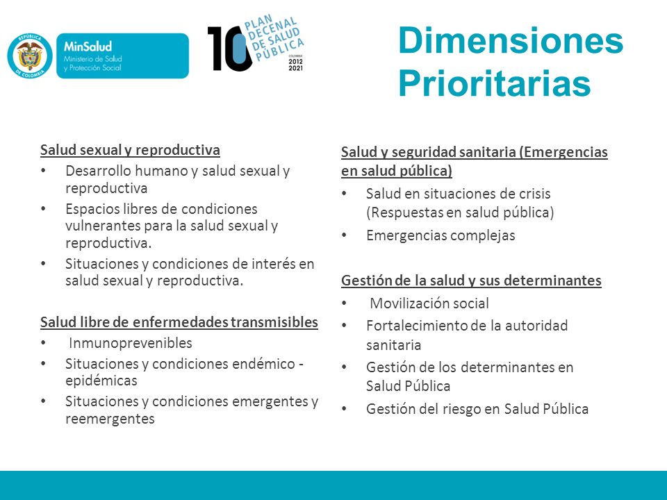 Dimensiones Prioritarias Salud sexual y reproductiva Desarrollo humano y salud sexual y reproductiva Espacios libres de condiciones vulnerantes para l