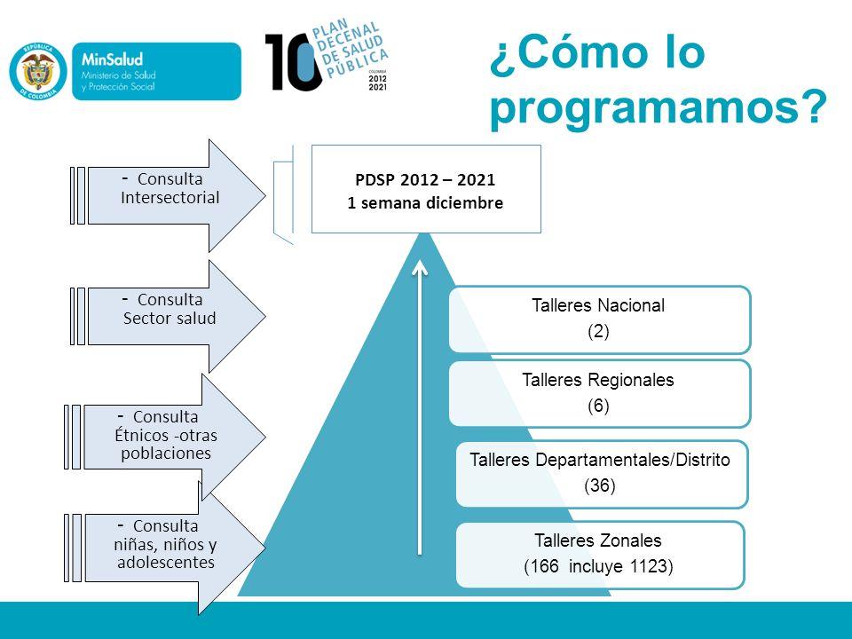 ¿Cómo lo programamos? Talleres Nacional (2) Talleres Departamentales/Distrito (36) Talleres Zonales (166 incluye 1123) Talleres Regionales (6) - Consu