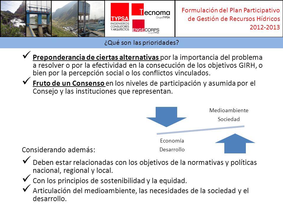 Formulación del Plan Participativo de Gestión de Recursos Hídricos 2012-2013 Alternativas Preponderancia de ciertas alternativas por la importancia del problema a resolver o por la efectividad en la consecución de los objetivos GIRH, o bien por la percepción social o los conflictos vinculados.