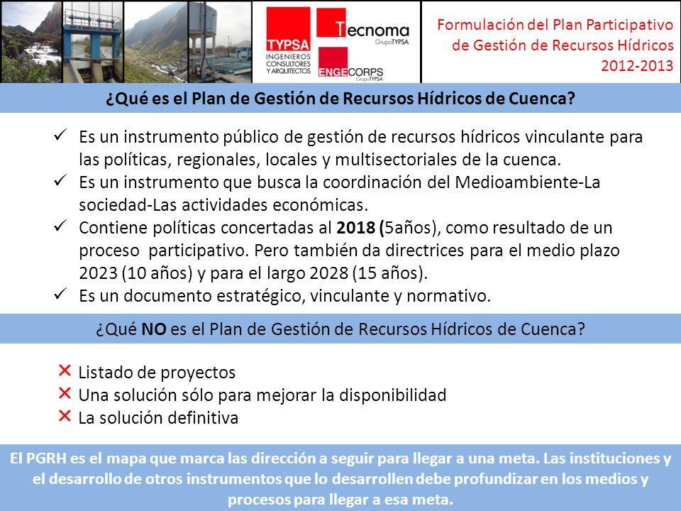 Formulación del Plan Participativo de Gestión de Recursos Hídricos 2012-2013 Es un instrumento público de gestión de recursos hídricos vinculante para las políticas, regionales, locales y multisectoriales de la cuenca.