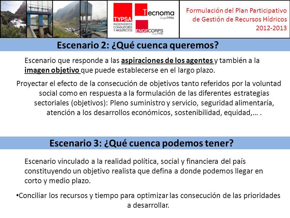 Formulación del Plan Participativo de Gestión de Recursos Hídricos 2012-2013 SINTESIS DEL PROCESO DE ELABORACION DE ALTERNATIVAS Y SELECCIÓN DE LA ALTERNATIVA OPTIMA DE PLAN DIAGNOSTICO SITUACION ACTUAL Sistema Natural Demografía Económico Tecnológico Gobernanza 2013 Alternativa 1Alternativa 2 Alternativa N ESCENARIO 1 TENDENCIAL ¿Qué cuenca tenemos.