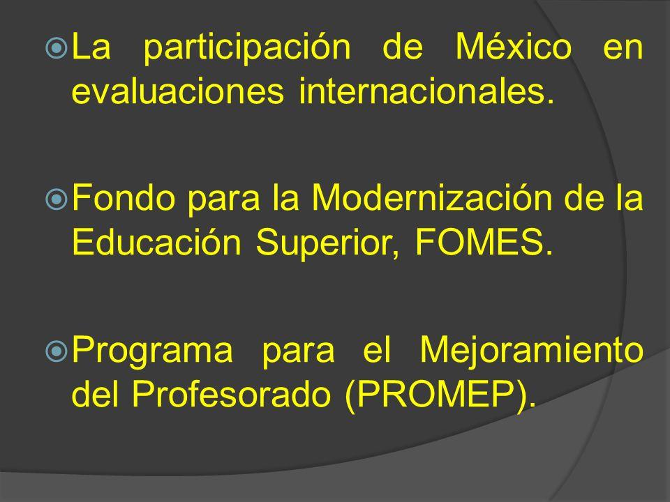 La participación de México en evaluaciones internacionales. Fondo para la Modernización de la Educación Superior, FOMES. Programa para el Mejoramiento