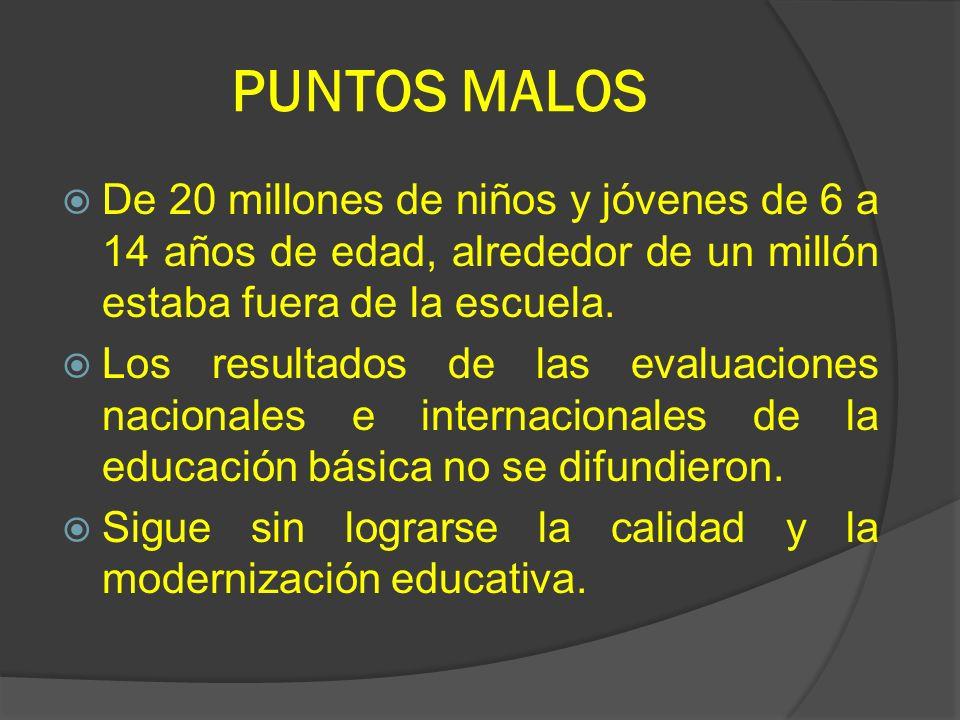 PUNTOS MALOS De 20 millones de niños y jóvenes de 6 a 14 años de edad, alrededor de un millón estaba fuera de la escuela. Los resultados de las evalua