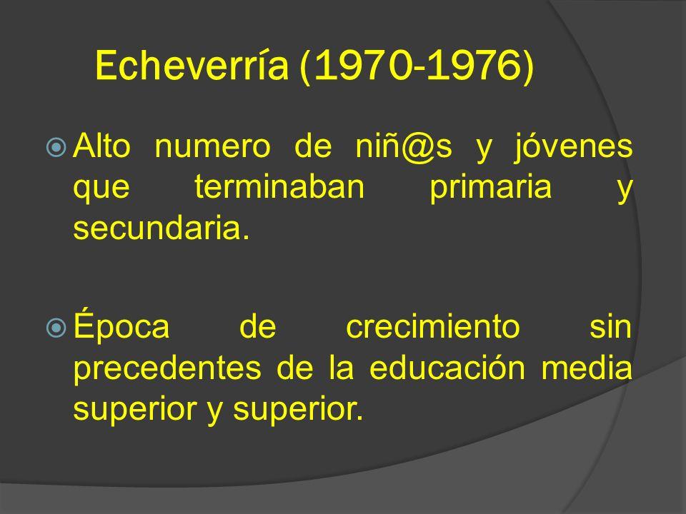 Echeverría (1970-1976) Alto numero de niñ@s y jóvenes que terminaban primaria y secundaria. Época de crecimiento sin precedentes de la educación media
