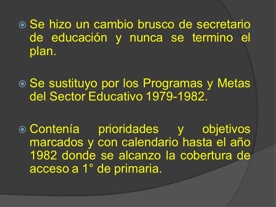 Se hizo un cambio brusco de secretario de educación y nunca se termino el plan. Se sustituyo por los Programas y Metas del Sector Educativo 1979-1982.