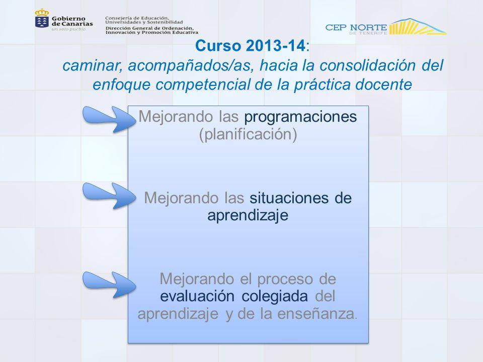 Curso 2013-14: caminar, acompañados/as, hacia la consolidación del enfoque competencial de la práctica docente Mejorando las programaciones (planificación) Mejorando las situaciones de aprendizaje Mejorando el proceso de evaluación colegiada del aprendizaje y de la enseñanza.