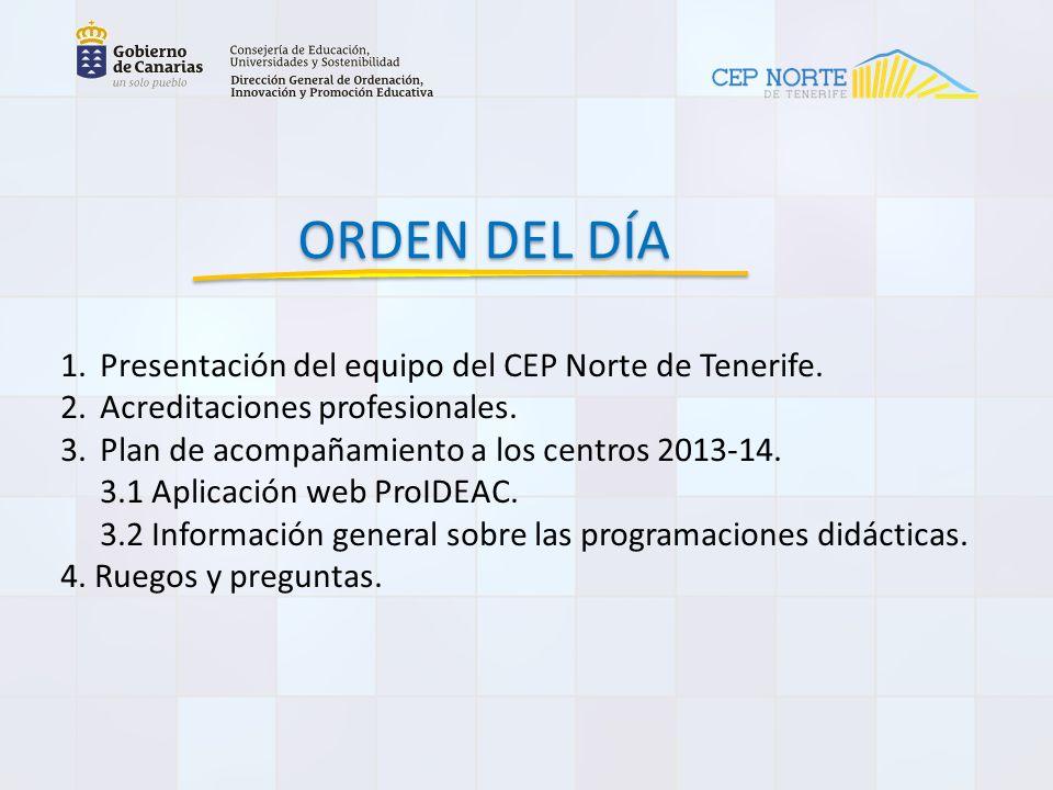 ORDEN DEL DÍA 1.Presentación del equipo del CEP Norte de Tenerife.