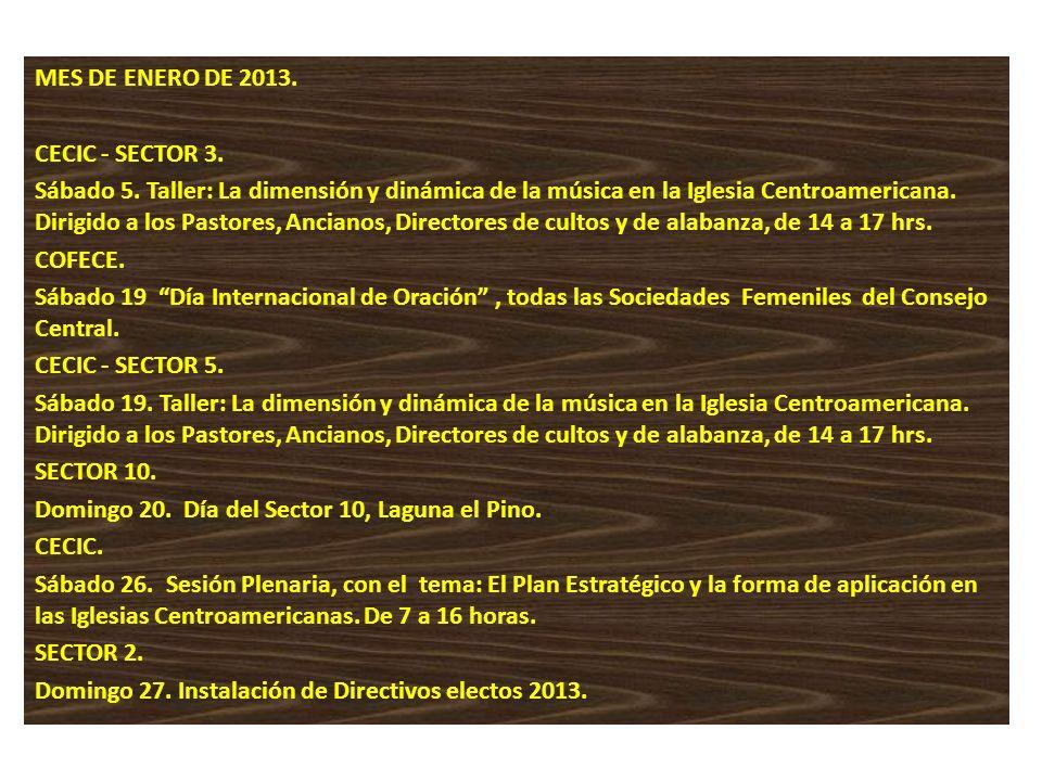 MES DE ENERO DE 2013. CECIC - SECTOR 3. Sábado 5. Taller: La dimensión y dinámica de la música en la Iglesia Centroamericana. Dirigido a los Pastores,
